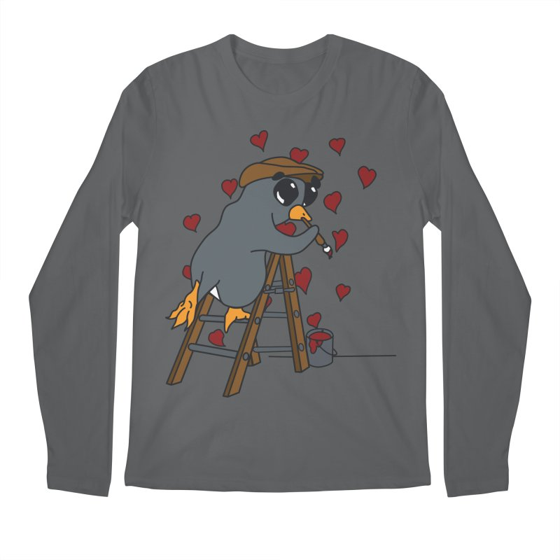 Penguin Painting Little Hearts Men's Longsleeve T-Shirt by bluetea1400's Artist Shop