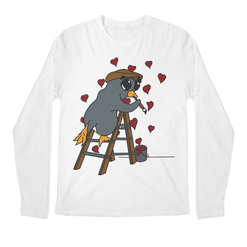 Penguin Painting Little Hearts Men's Regular Longsleeve T-Shirt by bluetea1400's Artist Shop