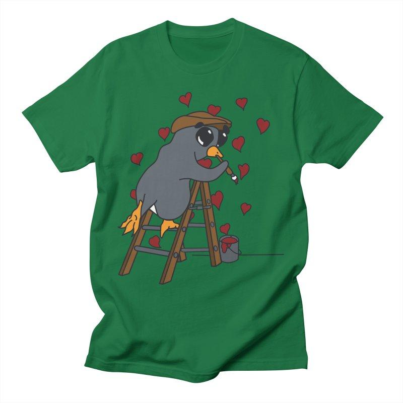 Penguin Painting Little Hearts Men's T-Shirt by bluetea1400's Artist Shop