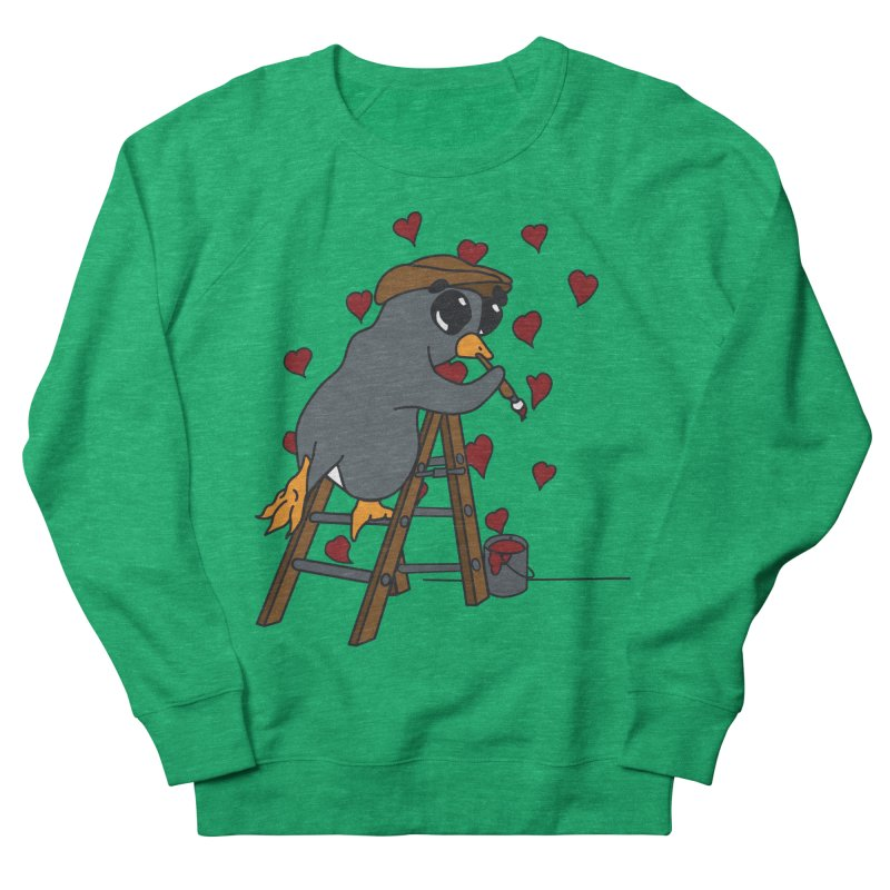 Penguin Painting Little Hearts Women's French Terry Sweatshirt by bluetea1400's Artist Shop