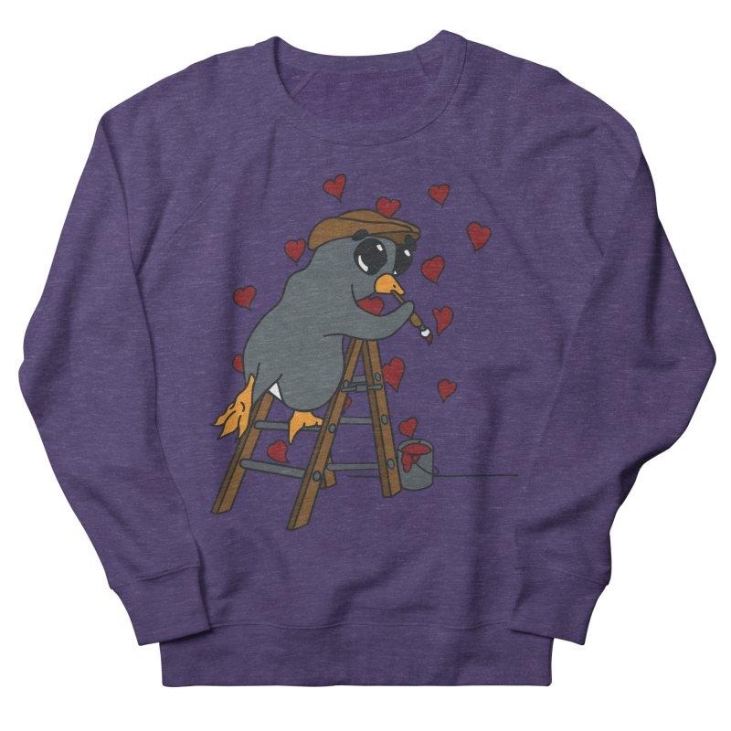 Penguin Painting Little Hearts Women's Sweatshirt by bluetea1400's Artist Shop