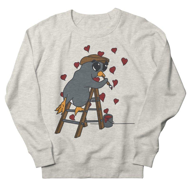 Penguin Painting Little Hearts Women's French Terry Sweatshirt by bluetea1400's Artist Shop