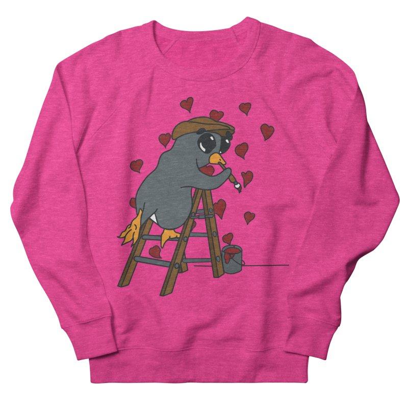 Penguin Painting Little Hearts Men's French Terry Sweatshirt by bluetea1400's Artist Shop