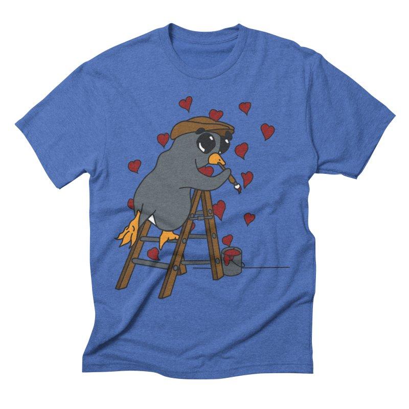 Penguin Painting Little Hearts Men's Triblend T-Shirt by bluetea1400's Artist Shop