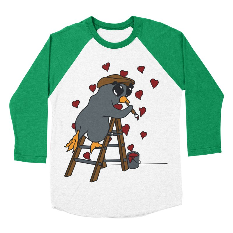 Penguin Painting Little Hearts Women's Baseball Triblend Longsleeve T-Shirt by bluetea1400's Artist Shop
