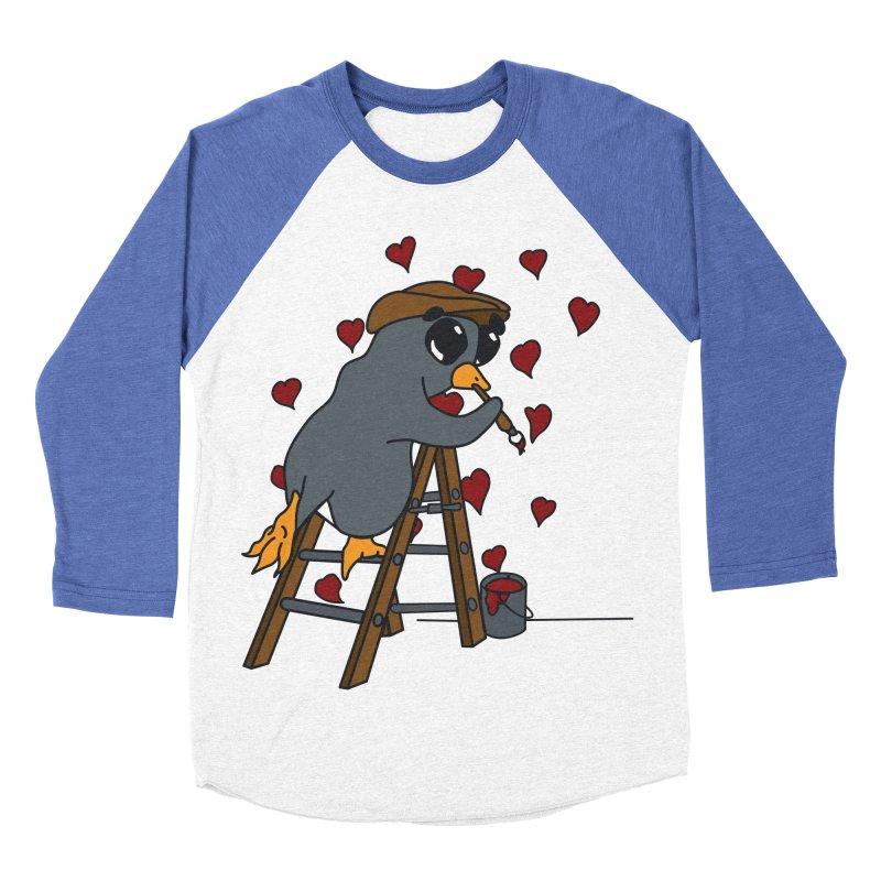 Penguin Painting Little Hearts Men's Baseball Triblend Longsleeve T-Shirt by bluetea1400's Artist Shop