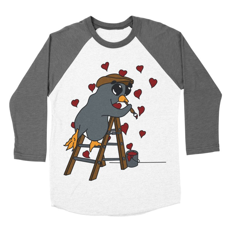 Penguin Painting Little Hearts Men's Baseball Triblend Longsleeve T-Shirt by bluetea1400's Artist Shop
