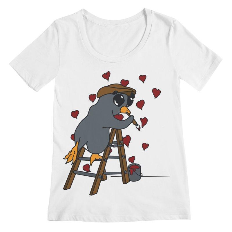 Penguin Painting Little Hearts Women's Regular Scoop Neck by bluetea1400's Artist Shop