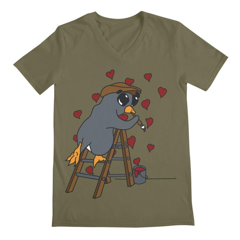 Penguin Painting Little Hearts Men's V-Neck by bluetea1400's Artist Shop