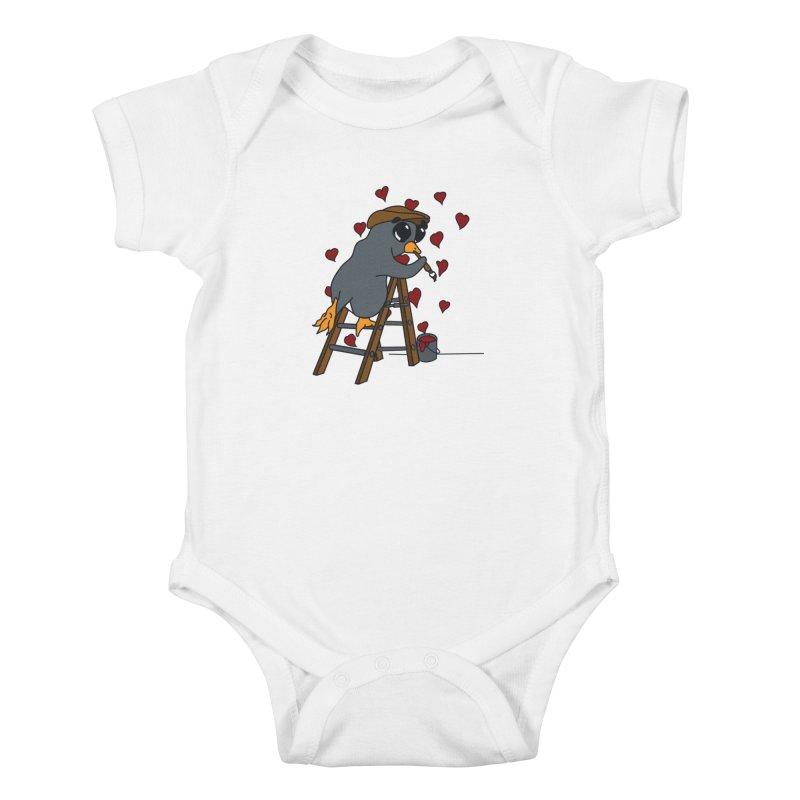 Penguin Painting Little Hearts Kids Baby Bodysuit by bluetea1400's Artist Shop