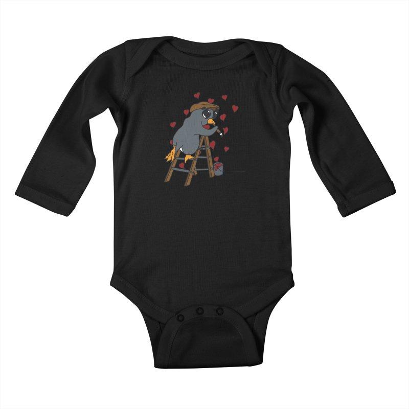 Penguin Painting Little Hearts Kids Baby Longsleeve Bodysuit by bluetea1400's Artist Shop