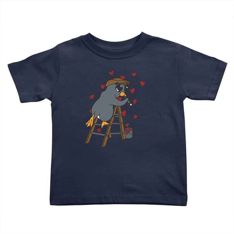 Penguin Painting Little Hearts Kids Toddler T-Shirt by bluetea1400's Artist Shop