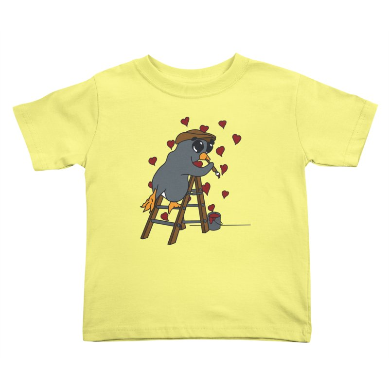 Penguin Painting Little Hearts Kids Toddler T-Shirt by bluetea1400's Artist Shop