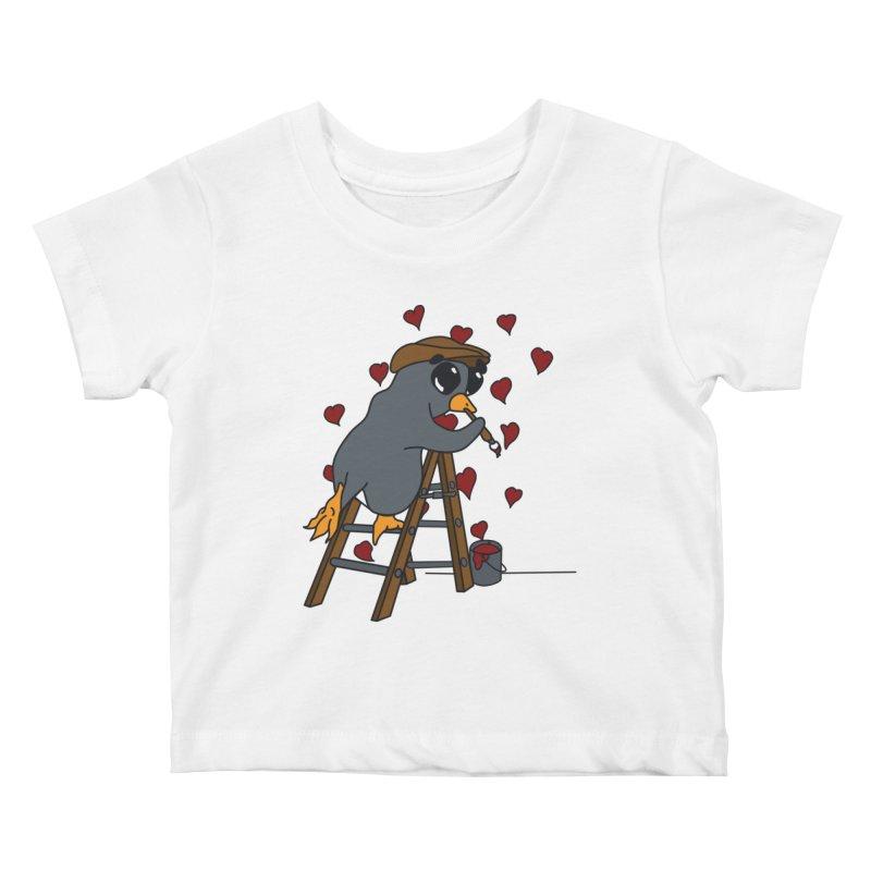 Penguin Painting Little Hearts Kids Baby T-Shirt by bluetea1400's Artist Shop