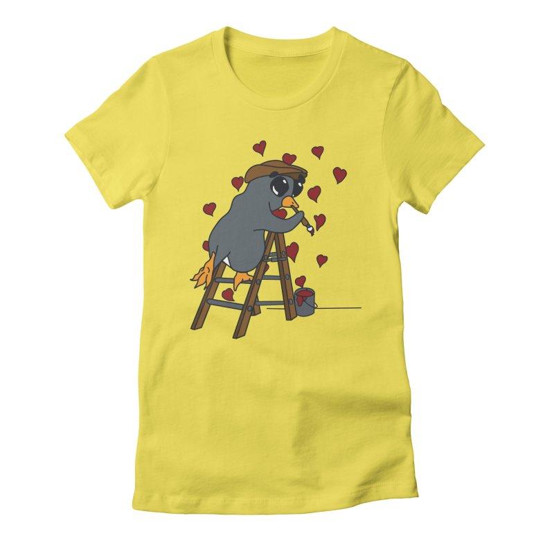 Penguin Painting Little Hearts Women's T-Shirt by bluetea1400's Artist Shop