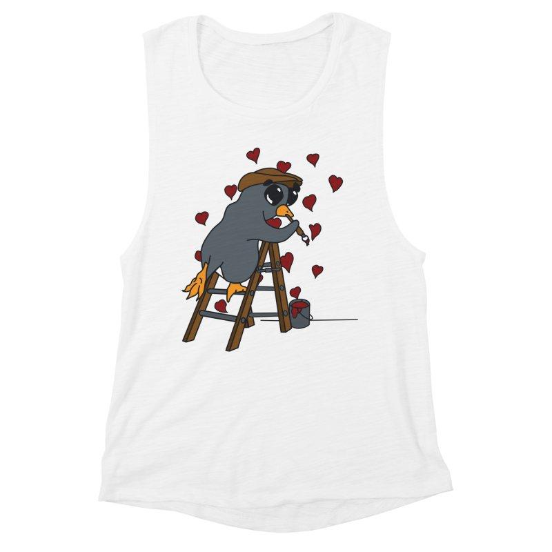Penguin Painting Little Hearts Women's Muscle Tank by bluetea1400's Artist Shop