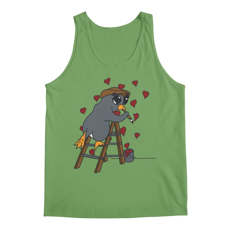Penguin Painting Little Hearts Men's Tank by bluetea1400's Artist Shop