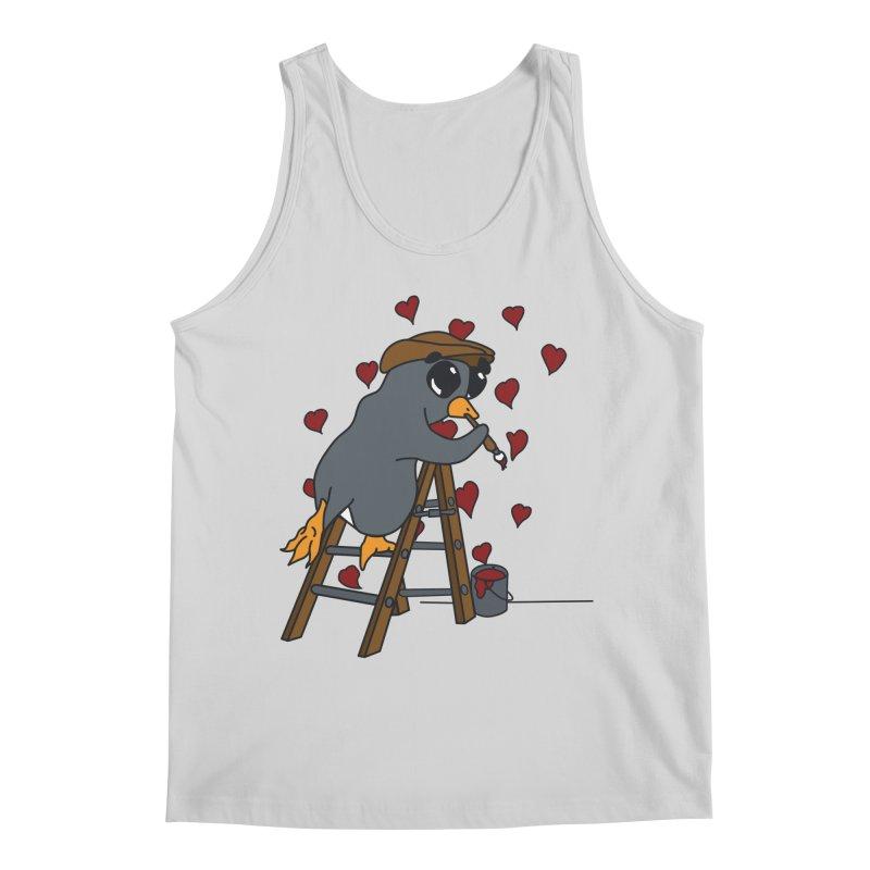Penguin Painting Little Hearts Men's Tank by bluetea1400's Artist Shop