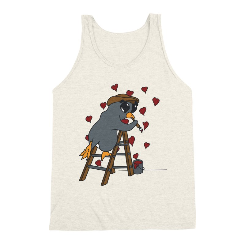 Penguin Painting Little Hearts Men's Triblend Tank by bluetea1400's Artist Shop