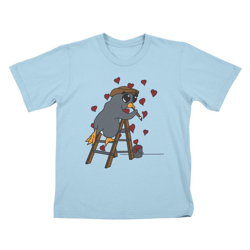 Penguin Painting Little Hearts Kids T-Shirt by bluetea1400's Artist Shop