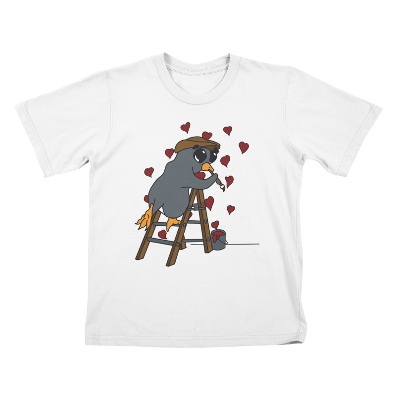 Penguin Painting Little Hearts Kids T-Shirt by bluetea1400's Artist Shop