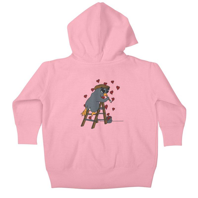 Penguin Painting Little Hearts Kids Baby Zip-Up Hoody by bluetea1400's Artist Shop