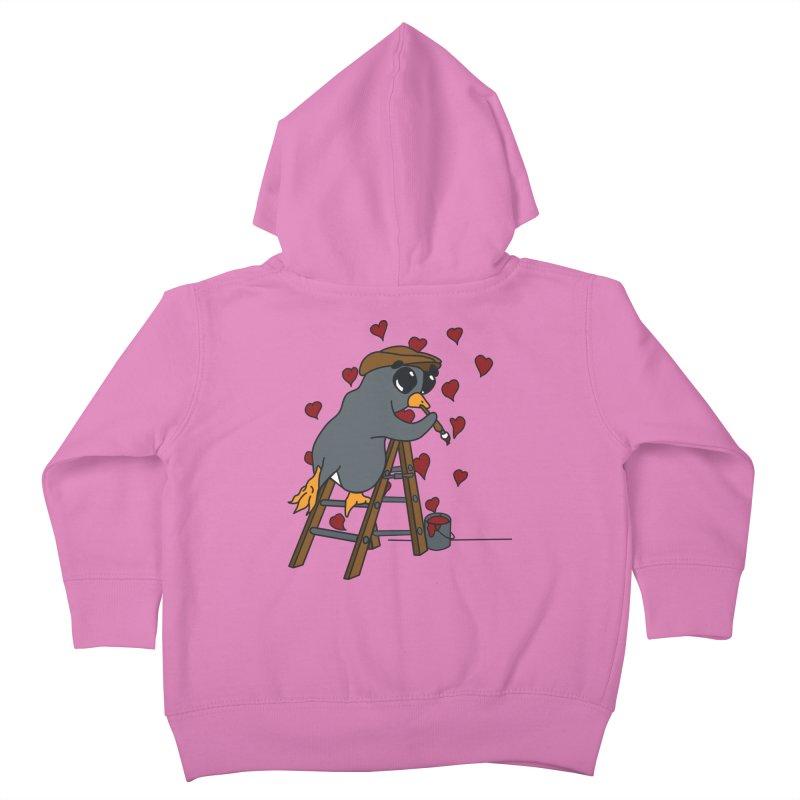 Penguin Painting Little Hearts Kids Toddler Zip-Up Hoody by bluetea1400's Artist Shop