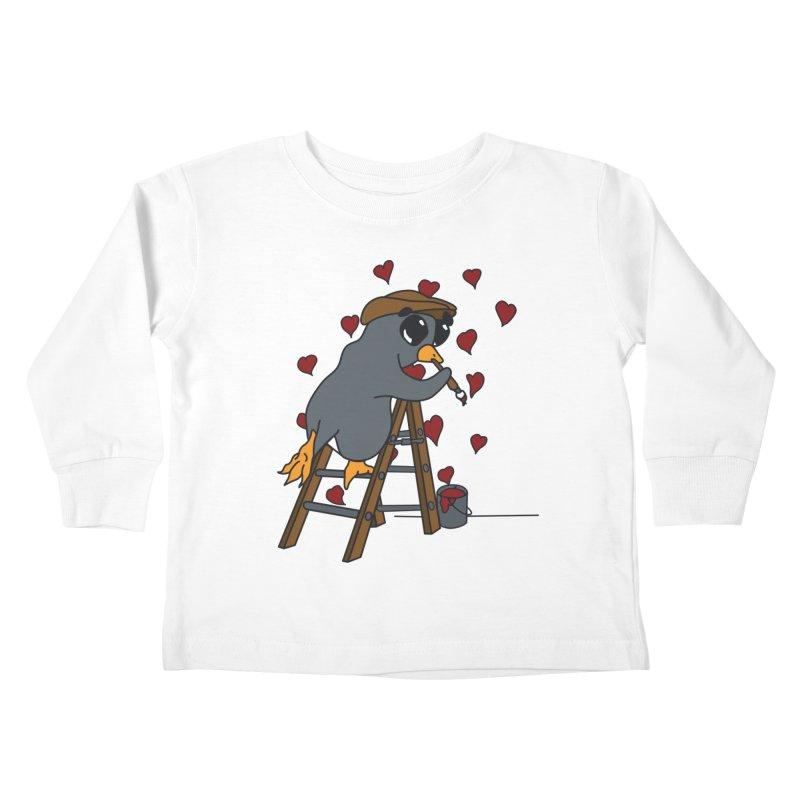 Penguin Painting Little Hearts Kids Toddler Longsleeve T-Shirt by bluetea1400's Artist Shop