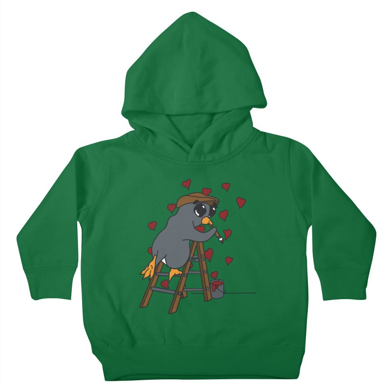 Penguin Painting Little Hearts Kids Toddler Pullover Hoody by bluetea1400's Artist Shop