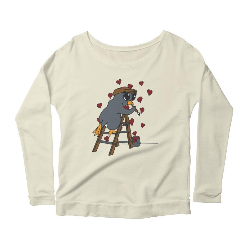 Penguin Painting Little Hearts Women's Scoop Neck Longsleeve T-Shirt by bluetea1400's Artist Shop