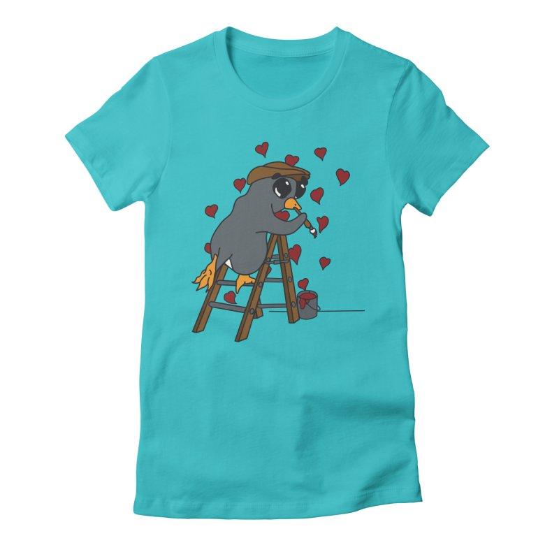 Penguin Painting Little Hearts Women's Fitted T-Shirt by bluetea1400's Artist Shop