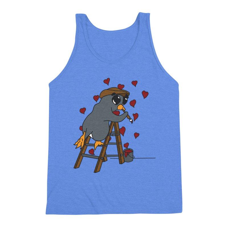 Penguin Painting Little Hearts Men's Triblend Tank by bluetea1400's Artist Shop