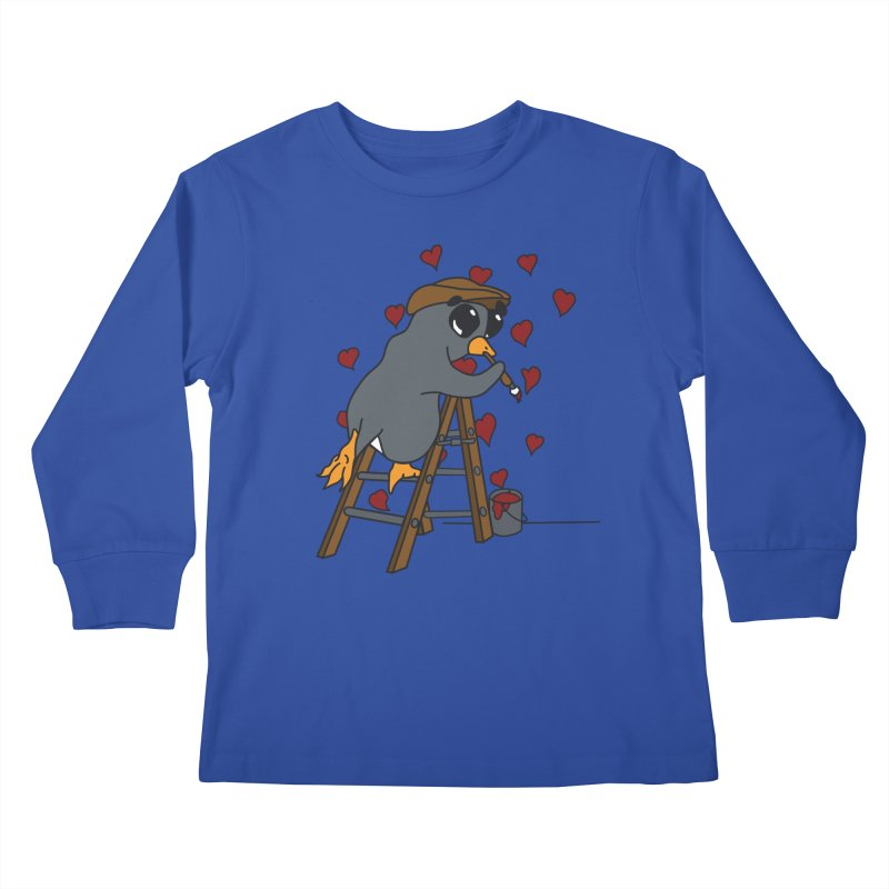 Penguin Painting Little Hearts Kids Longsleeve T-Shirt by bluetea1400's Artist Shop