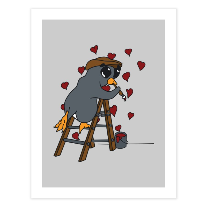 Penguin Painting Little Hearts Home Fine Art Print by bluetea1400's Artist Shop