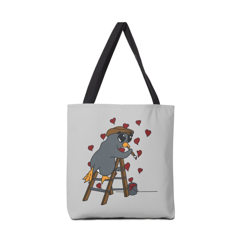 Penguin Painting Little Hearts Accessories Tote Bag Bag by bluetea1400's Artist Shop