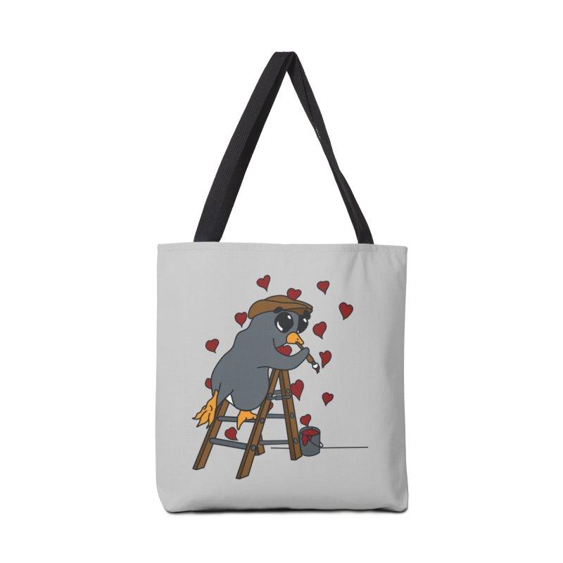 Penguin Painting Little Hearts Accessories Bag by bluetea1400's Artist Shop