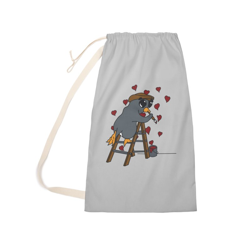 Penguin Painting Little Hearts Accessories Laundry Bag Bag by bluetea1400's Artist Shop
