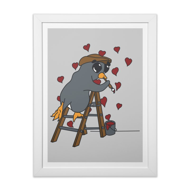 Penguin Painting Little Hearts Home Framed Fine Art Print by bluetea1400's Artist Shop