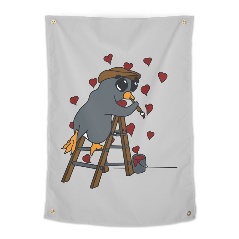 Penguin Painting Little Hearts Home Tapestry by bluetea1400's Artist Shop