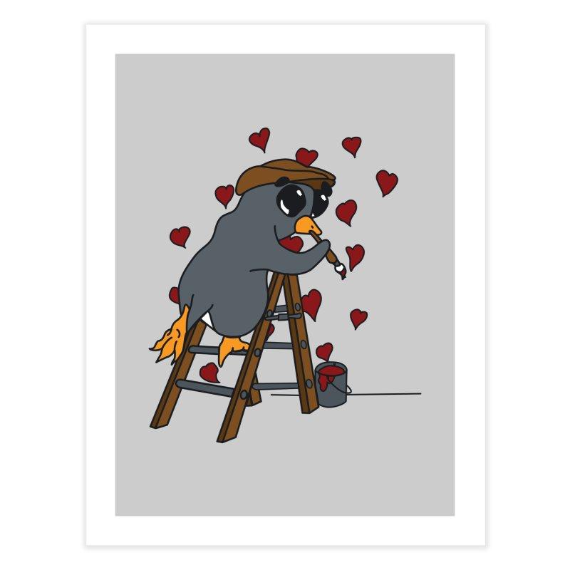 Penguin Painting Little Hearts Home Fine Art Print by bluetea1400's Artist Shop