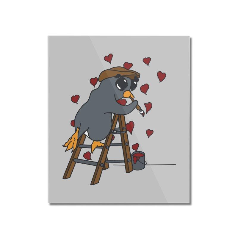 Penguin Painting Little Hearts Home Mounted Acrylic Print by bluetea1400's Artist Shop