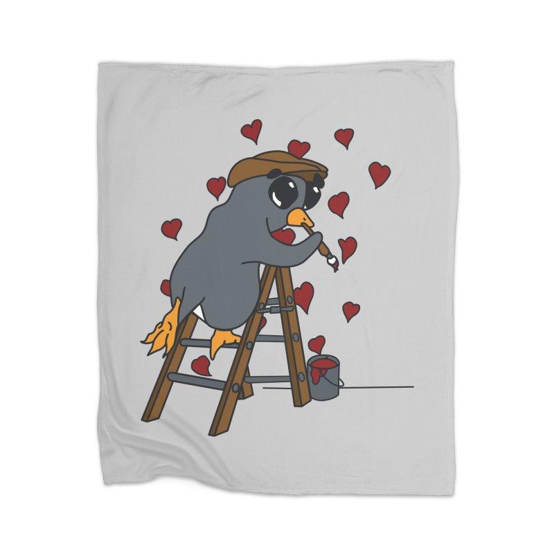 Penguin Painting Little Hearts Home Blanket by bluetea1400's Artist Shop