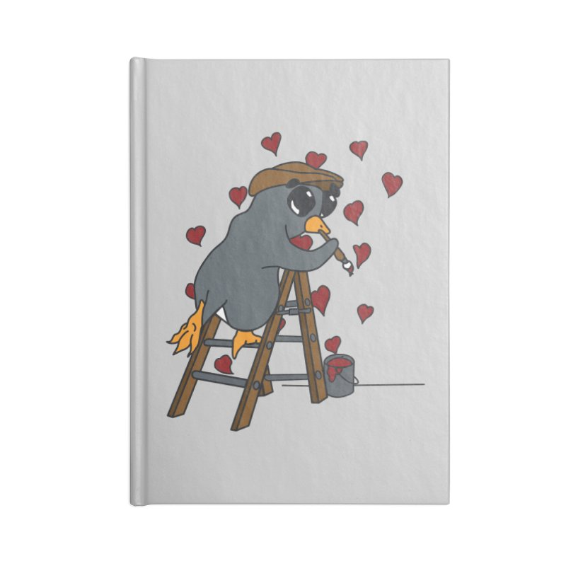 Penguin Painting Little Hearts Accessories Blank Journal Notebook by bluetea1400's Artist Shop