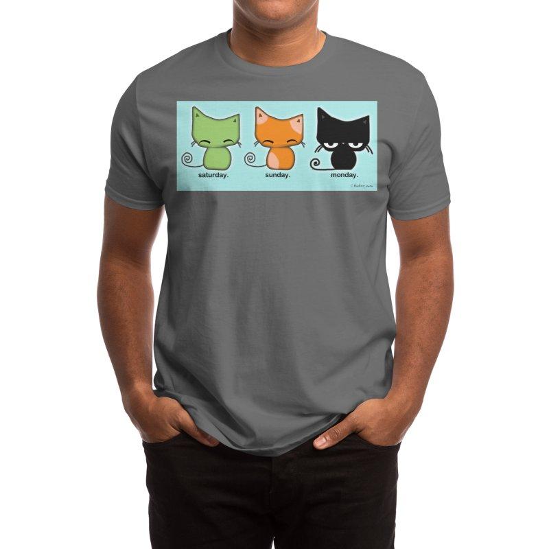Saturday Sunday Monday Cats Men's T-Shirt by b l u s h i n g m e o w