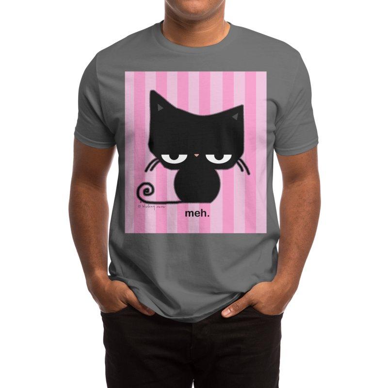 Meh Cat in Pink Stripes Men's T-Shirt by b l u s h i n g m e o w