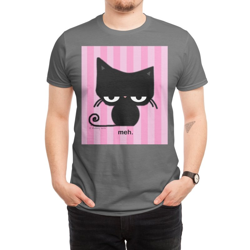 Meh Cat in Pink Stripes Men's T-Shirt by b l u s h i n g m e o w