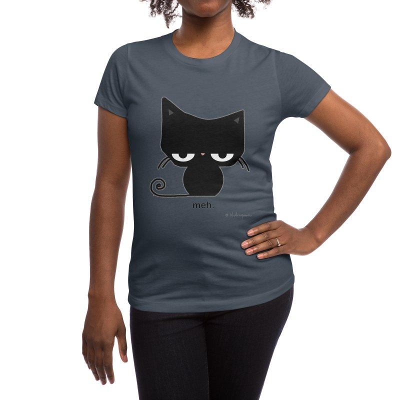The Meh Cat Women's T-Shirt by b l u s h i n g m e o w