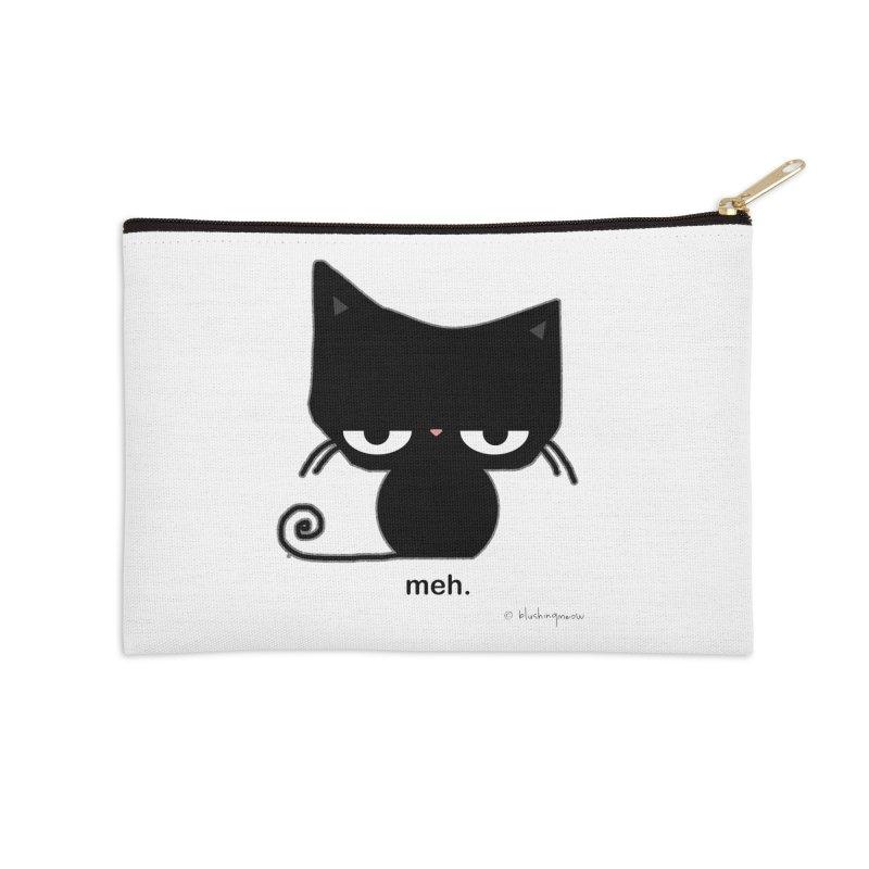 The Meh Cat Accessories Zip Pouch by b l u s h i n g m e o w