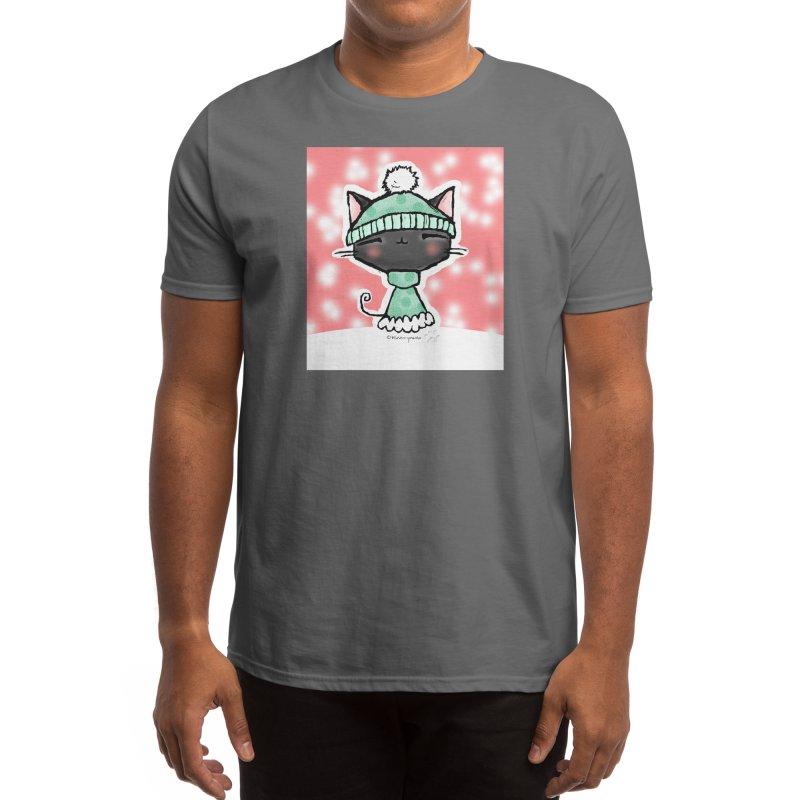 Bundled Up Kawaii Kitty in Snow Men's T-Shirt by b l u s h i n g m e o w
