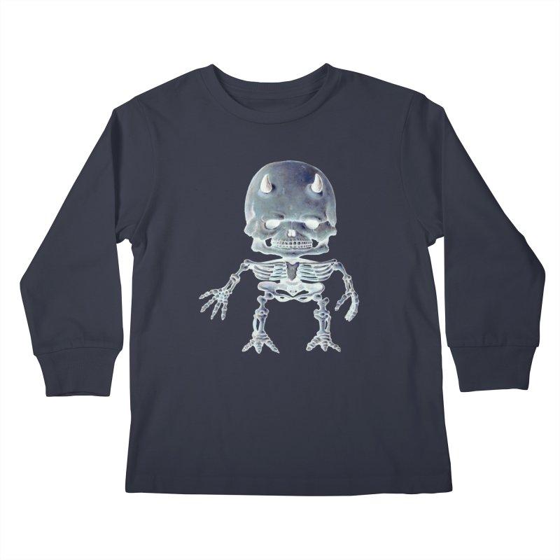 Luey Skeletal Inverted  Kids Longsleeve T-Shirt by Bob Dob